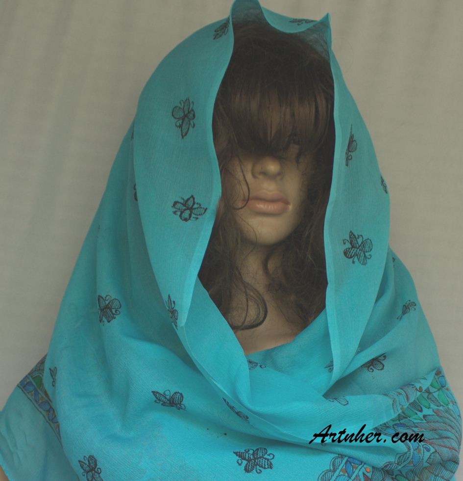 Turquoise color lotus flower theme silk art scarf buy online lotus flower theme turquoise color silk scarf izmirmasajfo