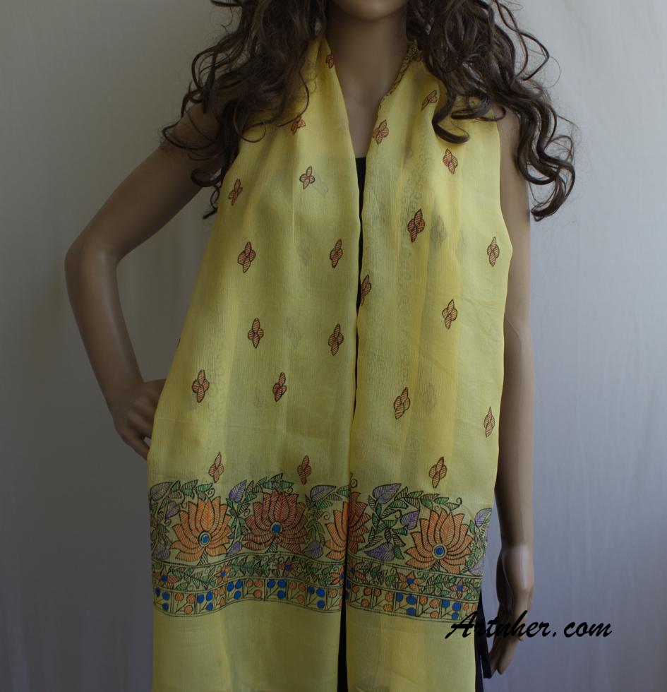 Yellow Color Lotus Flower Theme Silk Art Scarf Buy Online