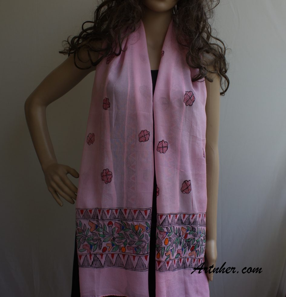ef19ca45637 Light Pink color Branches theme silk art scarf, Buy online